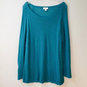 LOFT XL Diamond Open-Knit Sheer Turquoise Sweater